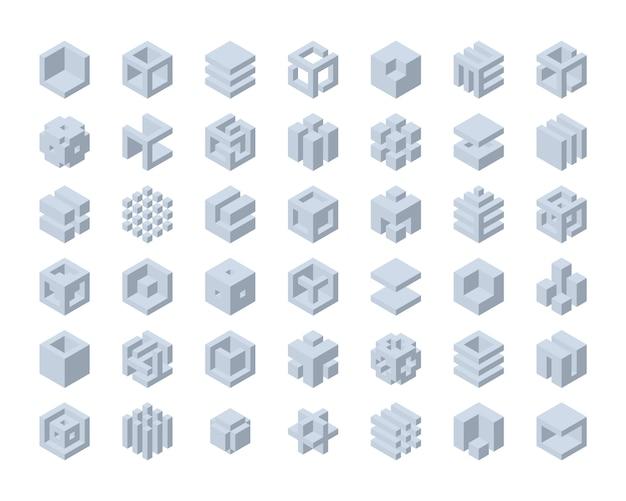 Cube logo set Premium Vector