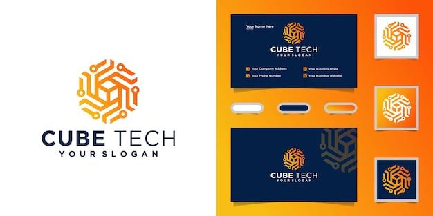 Cube tech logo , hexagon and inspiration business card Premium Vector