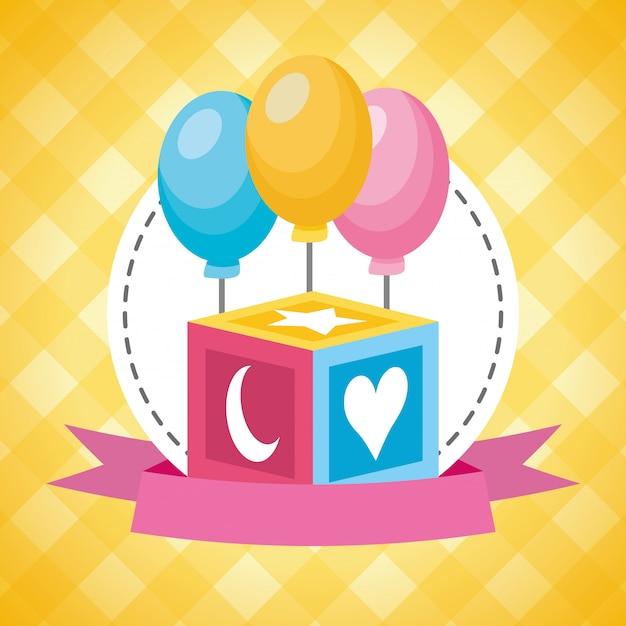 Cubo giocattolo e palloncini per baby shower Vettore gratuito