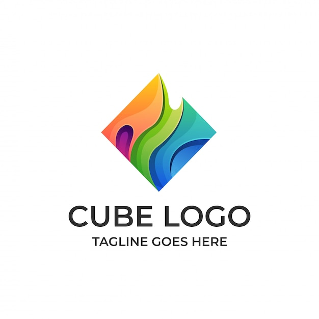 Cube water multicolored abstract template. Premium Vector