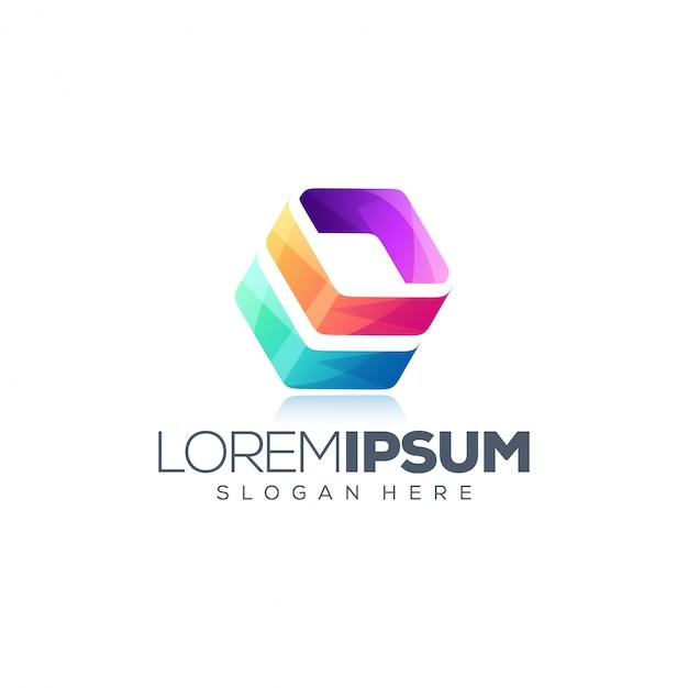 Cube красочный дизайн логотипа Premium векторы