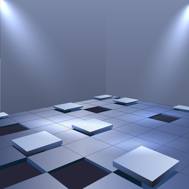 Cubes floor realistic background Free Vector