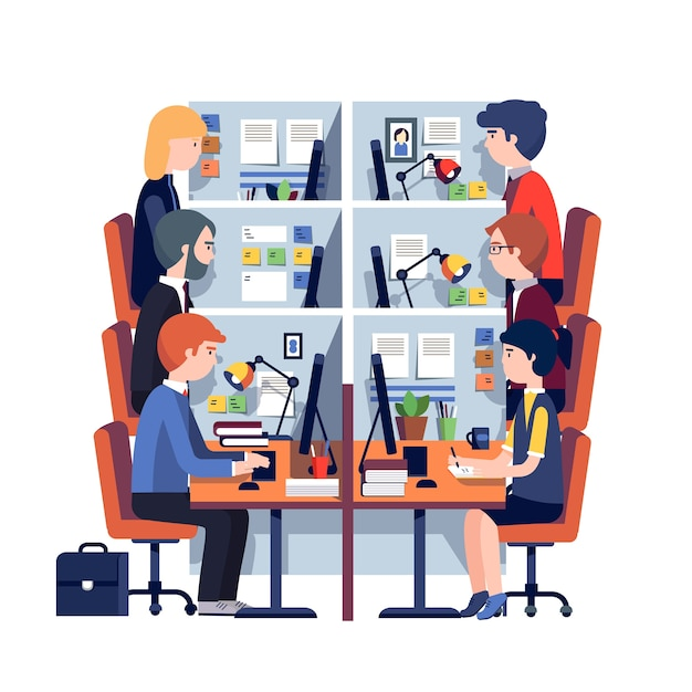 Cubicle Office Workplaces With Employees Vector Free