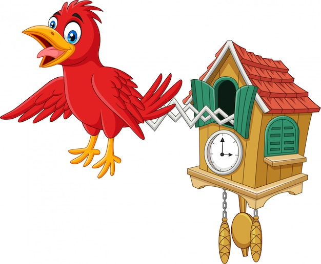 Cuckoo clock with red bird chirping Premium Vector