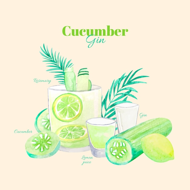 Cucumber gin cocktail recipe Free Vector