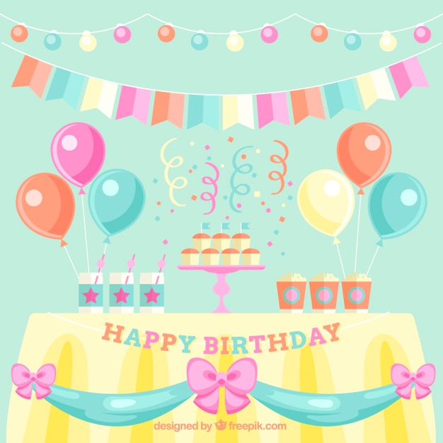 cue birthday decoration in pastel colors stock images page