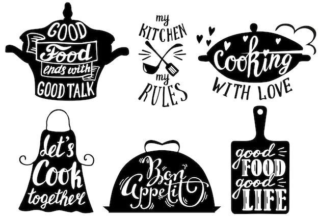 Cuisine short phrases and quotes Premium Vector