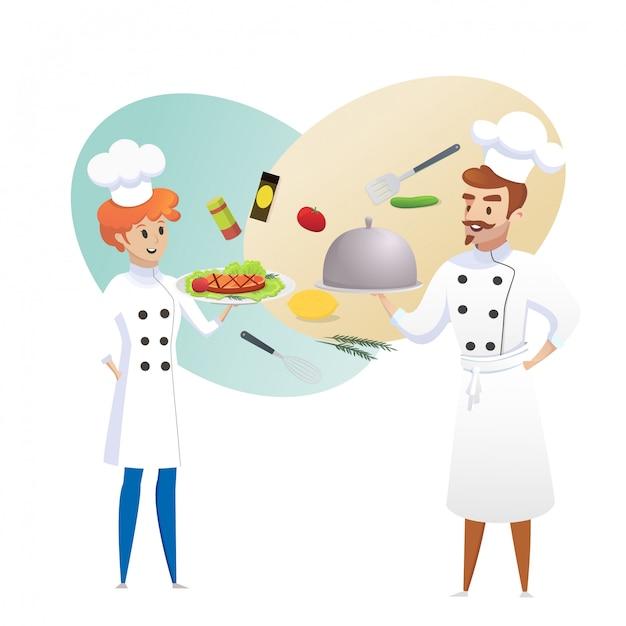 Culinary concept illustration restaurant business Premium Vector