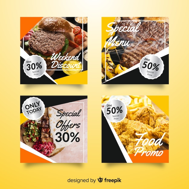 Culinary instagram post collection with image Free Vector