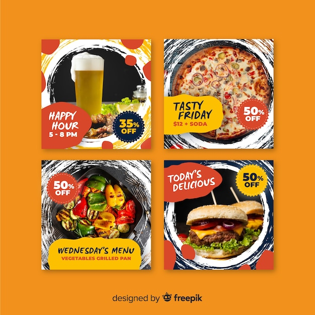 Culinary instagram post collection with photo banners Free Vector