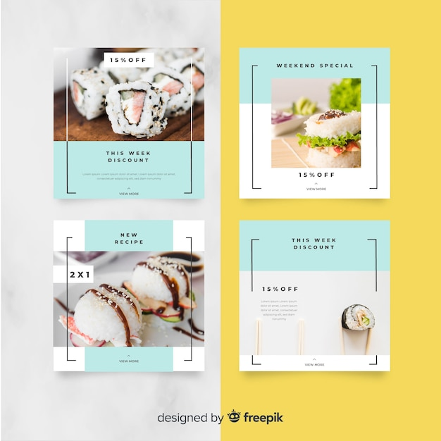 Culinary instagram post collection with photo Premium Vector