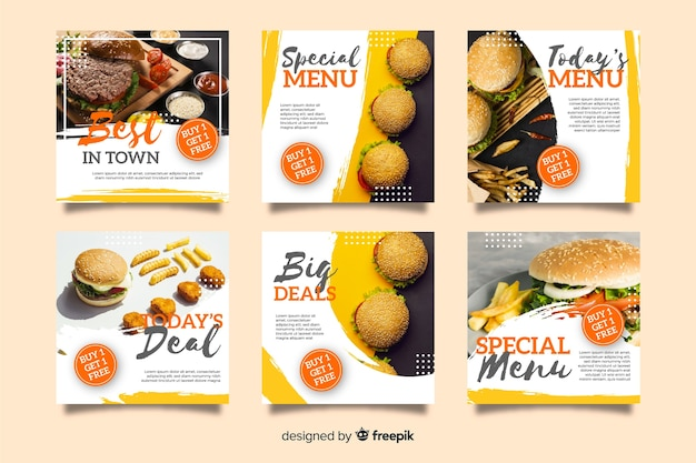 Кулинарный инстаграм пост коллекция с фото Premium векторы