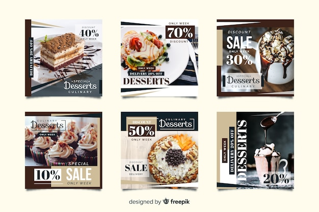Culinary instagram post collection with photo Free Vector