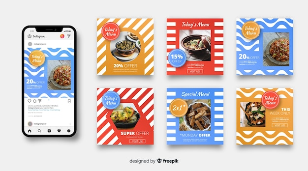 Culinary instagram post set with photo Free Vector