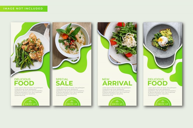 Culinary instagram stories template collection. Premium Vector