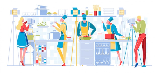 Culinary program or blog broadcasting. television Premium Vector