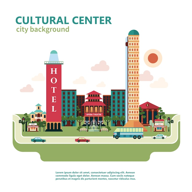 Cultural center city background Free Vector