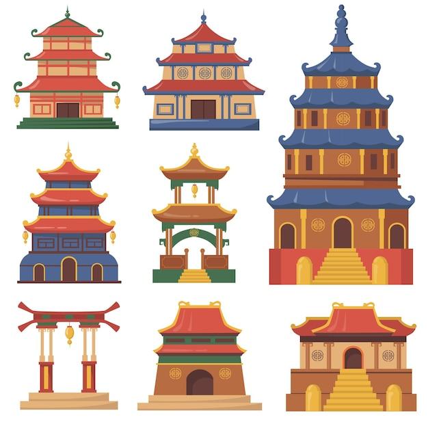 ウェブデザインのための文化的な中国の伝統的な建物のフラットセット。漫画イラスト 無料ベクター