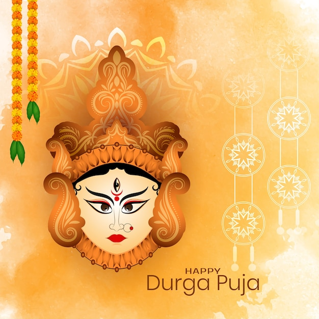 Cultural happy durga puja festival subh navratri background Free Vector