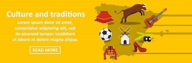 Культура и традиции испания баннер горизонтальная концепция Premium векторы
