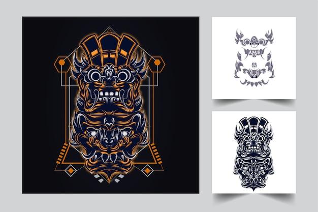 モダンなイラストのコンセプトスタイルで文化インドネシアのマスコット Premiumベクター