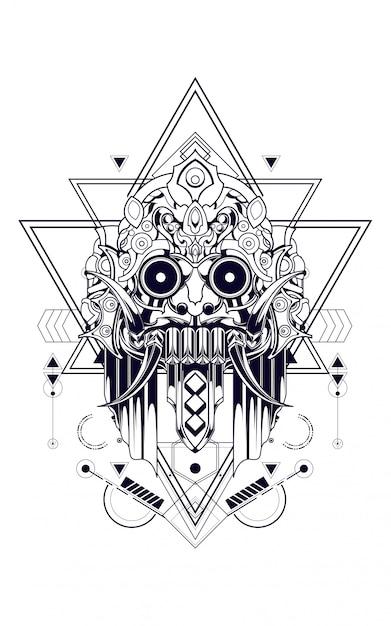 Culture mask sacred geometry Premium Vector