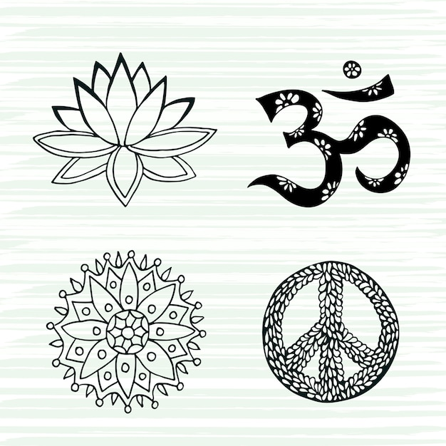 Culture symbols vector set. lotus, mandala, mantra om and peace signs hand drawn collection. Premium Vector