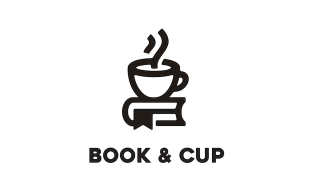 Cup and book logo design Premium Vector