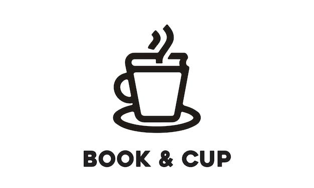 Cup and book logo design Premium Vector
