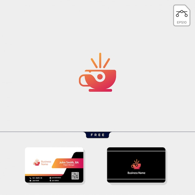 Cup cafe logo and free business card design Premium Vector