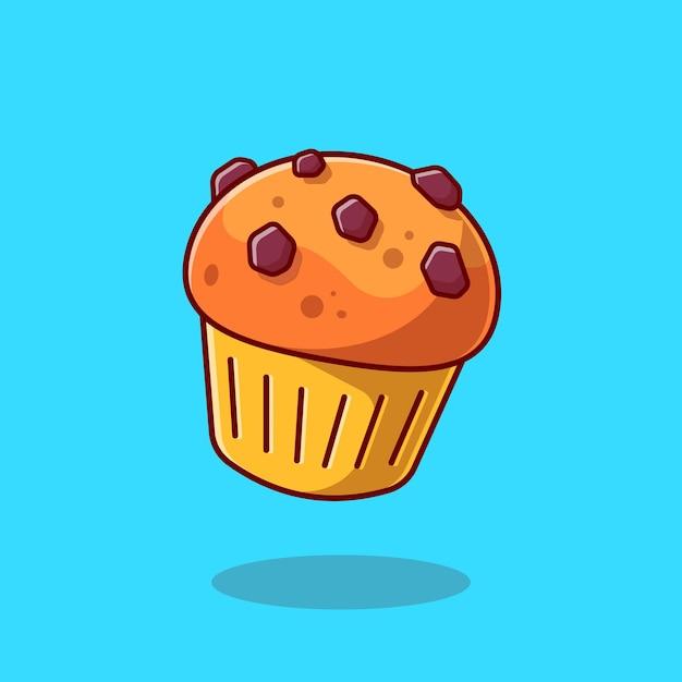 컵 케이크 만화 아이콘 그림입니다. 음식 과자 아이콘 개념 절연입니다. 플랫 만화 스타일 무료 벡터