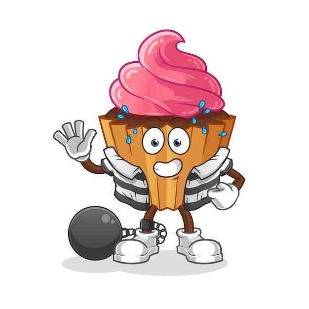 カップケーキ犯罪漫画のキャラクター Premiumベクター