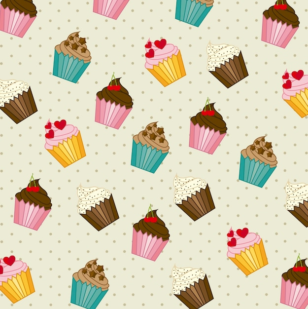 Cup cakes pattern vintage style vector illustration Premium Vector