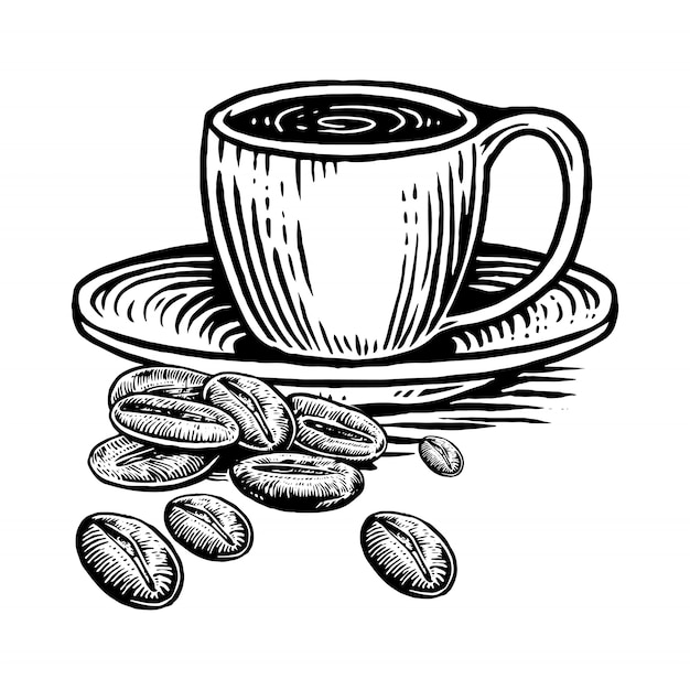 Cup coffe with coffe beans Premium Vector