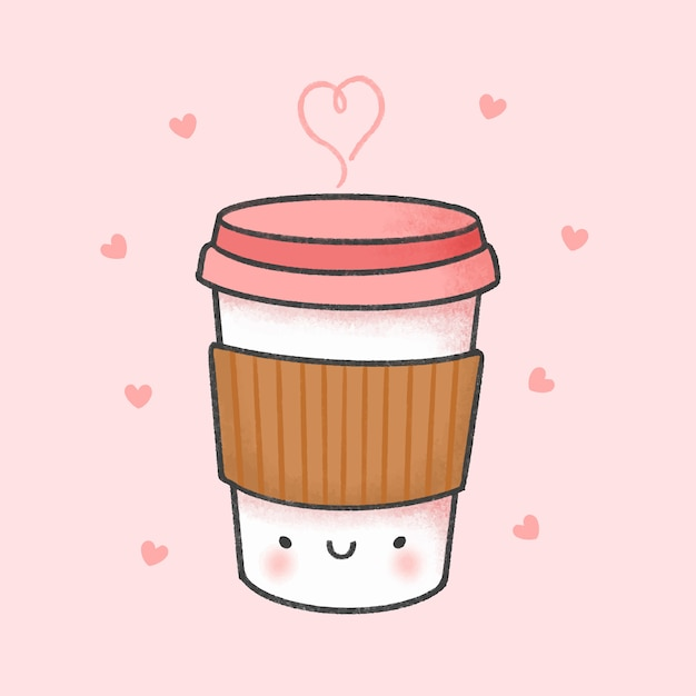 Cup of coffee cartoon hand drawn style Premium Vector