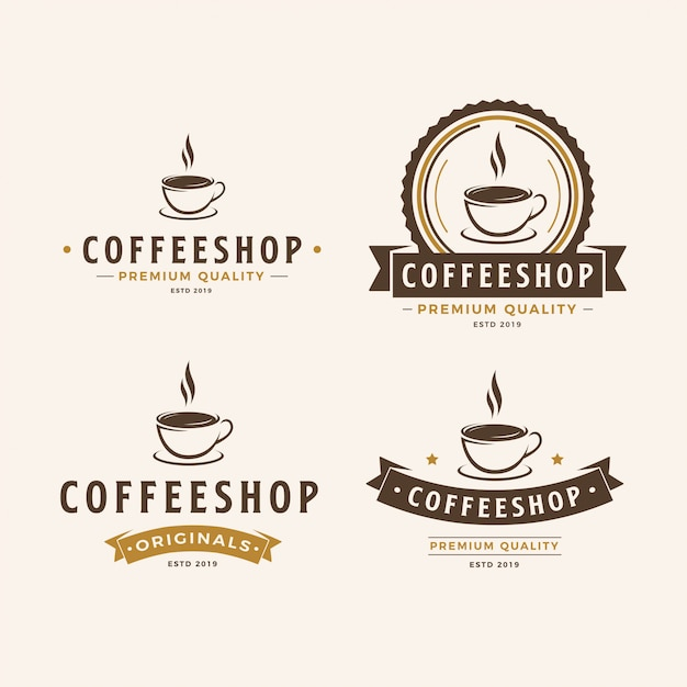 A cup of coffee logo pack Premium Vector