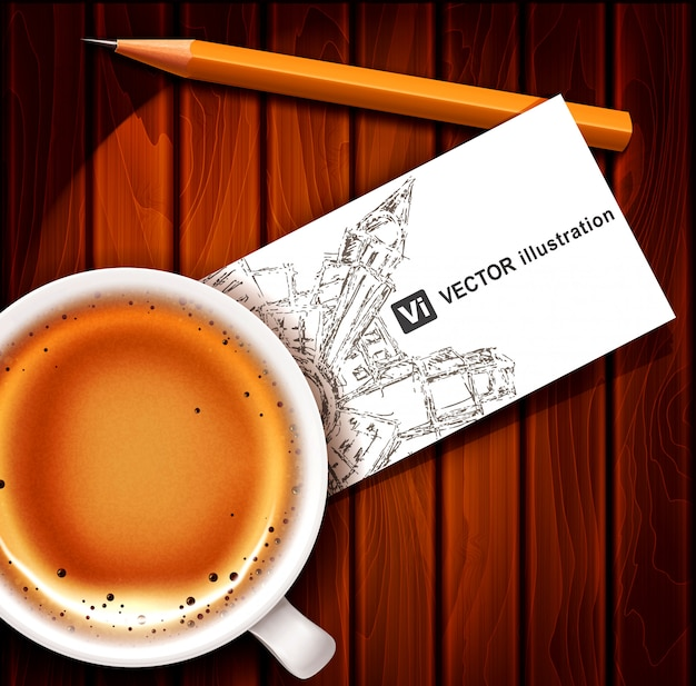 Cup of coffee with business card and pencil on a wooden table. Premium Vector