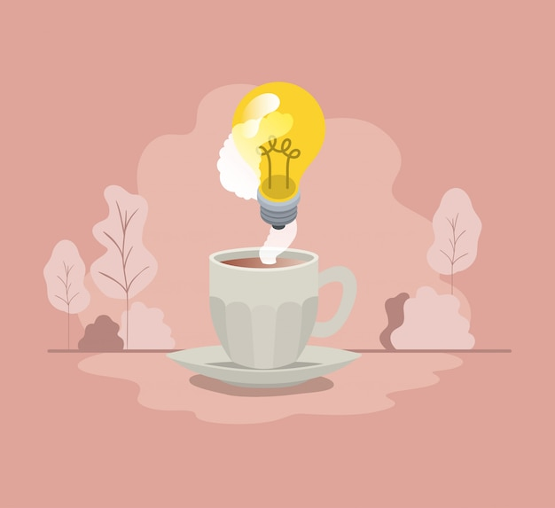 Cup of coffee with light bulb isolated icon Premium Vector