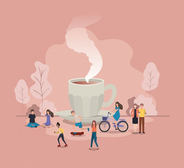 Cup of coffee with light bulb and mini people Premium Vector