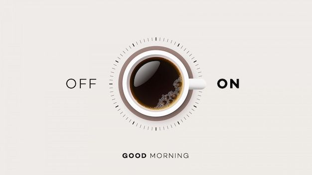 Cup of coffee with on and off Premium Vector