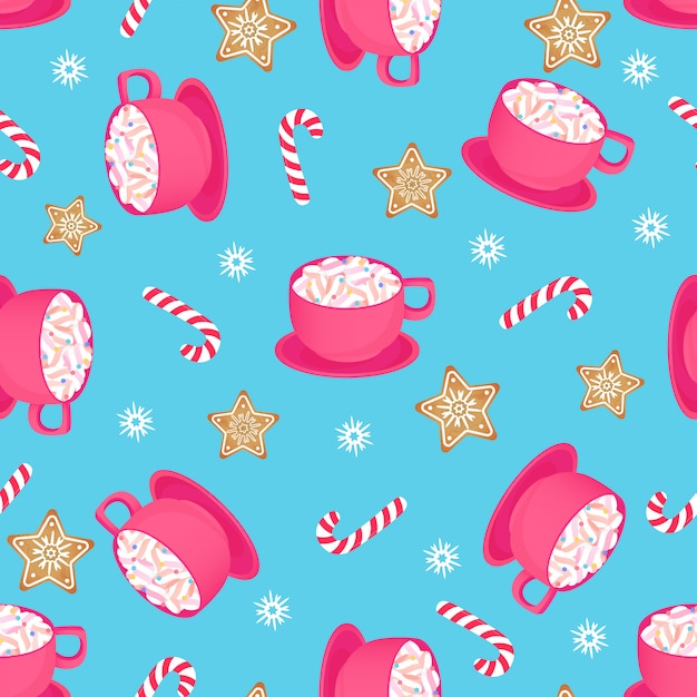 A cup of hot cocoa with candy cane and gingerbread star. seamless pattern for christmas Premium Vector