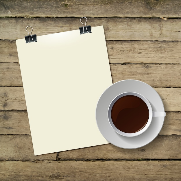 Cup of hot coffee and note paper on wood Premium Vector