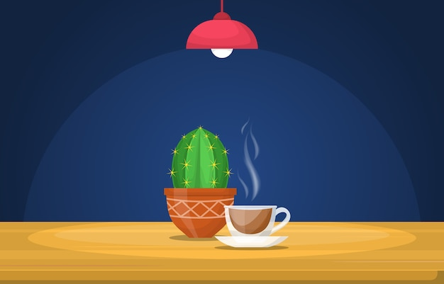 A cup of hot tea on table under light lamp illustration Premium Vector