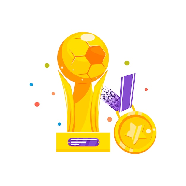 Cup and medal for winning football Free Vector