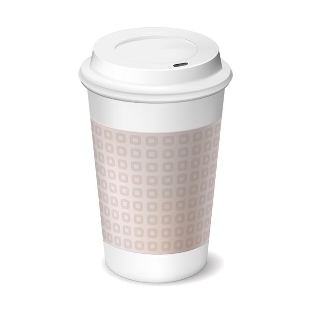 Чашка кофе на вынос с закрытой крышкой Бесплатные векторы
