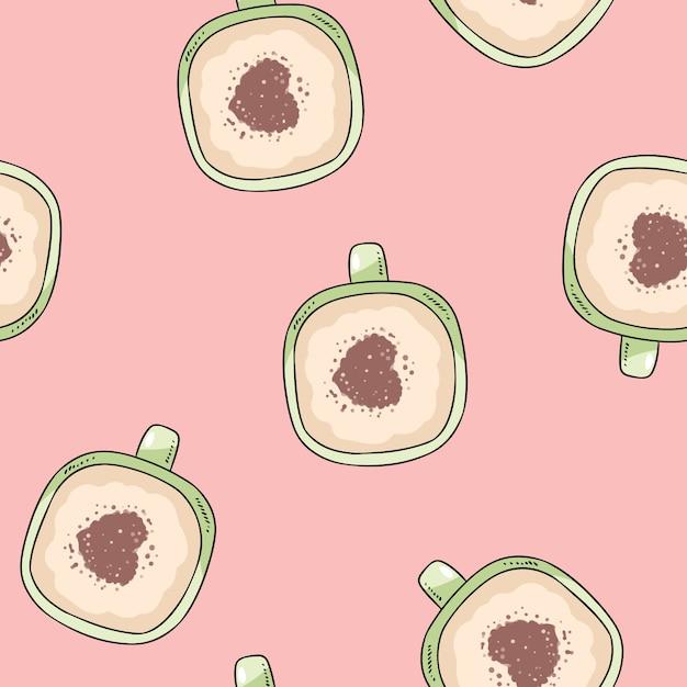 一杯のコーヒー魔女シナモンハート飾り Premiumベクター