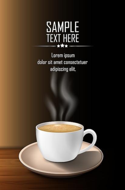 Чашка кофе с дымом на деревянном столе Premium векторы