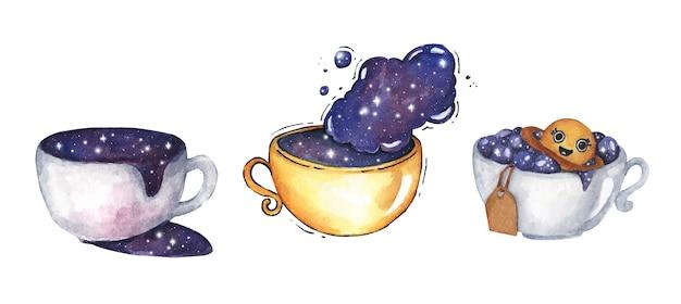 우주 우주 세트와 함께 커피 한잔. 흰색 바탕에. 수채화 그림. 프리미엄 벡터
