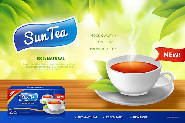Cup of tea ad Free Vector