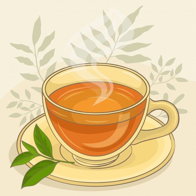 Cup of tea with leaves Premium Vector